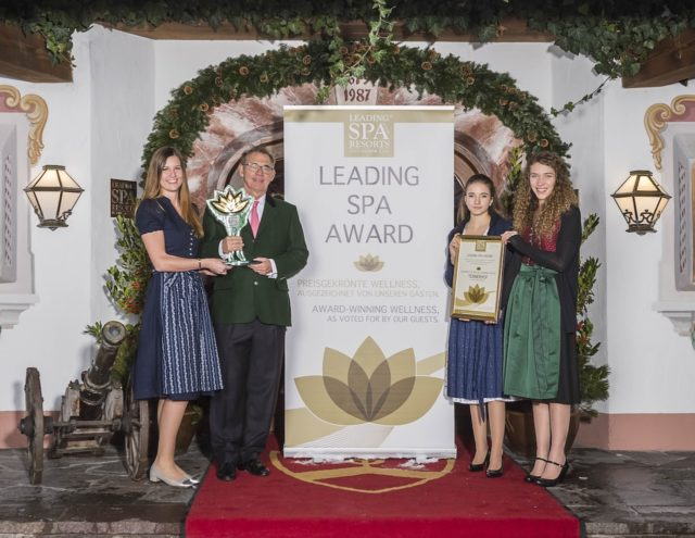 Das Relais & Châteaux Tennerhof Gourmet & Spa de Charme Hotel ***** in Kitzbühel gewinnt den internationalen Leading Spa Award
