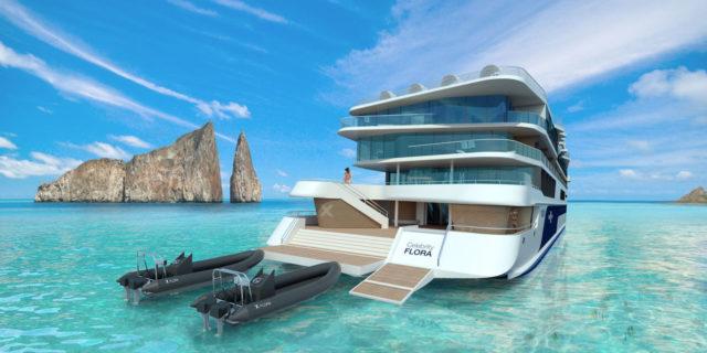 Celebrity Flora, Flora, Galapagos Islands, Ship, FL, Aerial, Ship Exterior